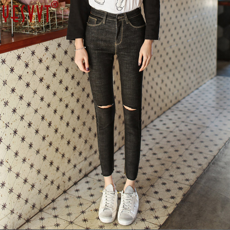 yesvvt Brand 2017 Women Jeans american apparel Chic Sexy Hole distressed Jeans Women Jeans Denim Pants
