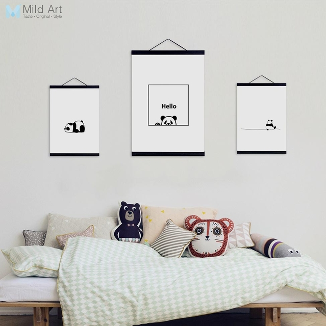 Us 8 36 47 Off Minimalist Black White Kawaii Panda Wooden Framed Canvas Paintings Nordic Kids Baby Room Decor Wall Art Pictures Posters Scroll In