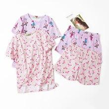 ฤดูร้อนน่ารักผ้าฝ้าย 100% กางเกงขาสั้นกางเกงขาสั้นชุดนอนชุดรอบคอพิมพ์การ์ตูนผู้หญิง Pijama ชุดนอนหน้าแรกชุดนอน