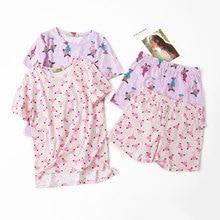 Lato piękne 100% bawełniane spodenki z krótkim rękawem zestaw piżamy wokół szyi drukowanie kreskówki kobiety Pijama Loungewear domowa bielizna nocna
