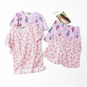 Image 1 - Lato piękne 100% bawełniane spodenki z krótkim rękawem zestaw piżamy wokół szyi drukowanie kreskówki kobiety Pijama Loungewear domowa bielizna nocna