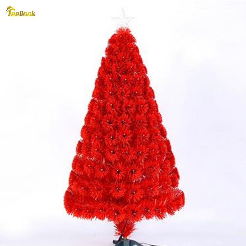Teellook 1.2M / 120CM encrypted red leaves + all red light fiber Christmas tree light tree Christmas decoration supplies