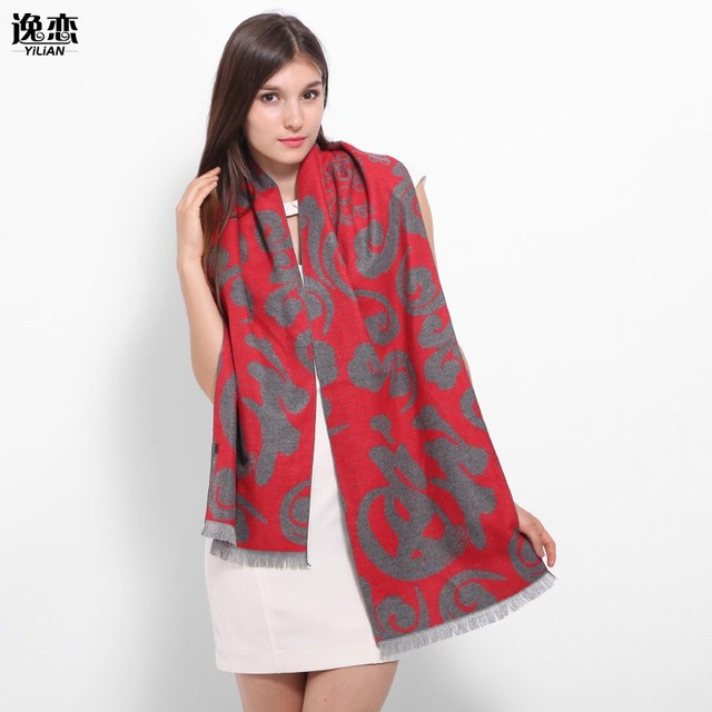 0f015ed2a52b YI LIAN Brand Fashion Design Women Winter Scarf Chinese Tradition Print  Wool Festival Shawl Top Quality Red Color LA094