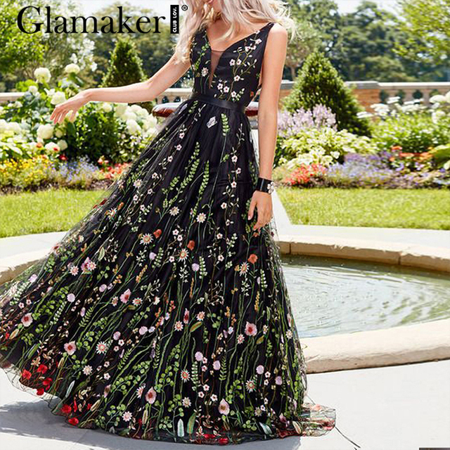 Glamaker Mesh vintage floral embroidery maxi dress Women summer backless beach black dress Sexy v neck elegant long party dress
