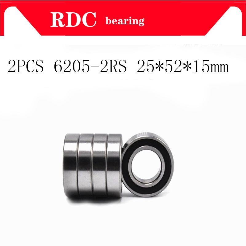 2PCSy ABEC-5 6205 2RS 6205RS 6205-2RS 6205 RS 25x52X15 mm double Rubber seal High qualit Deep Groove Ball Bearing цена