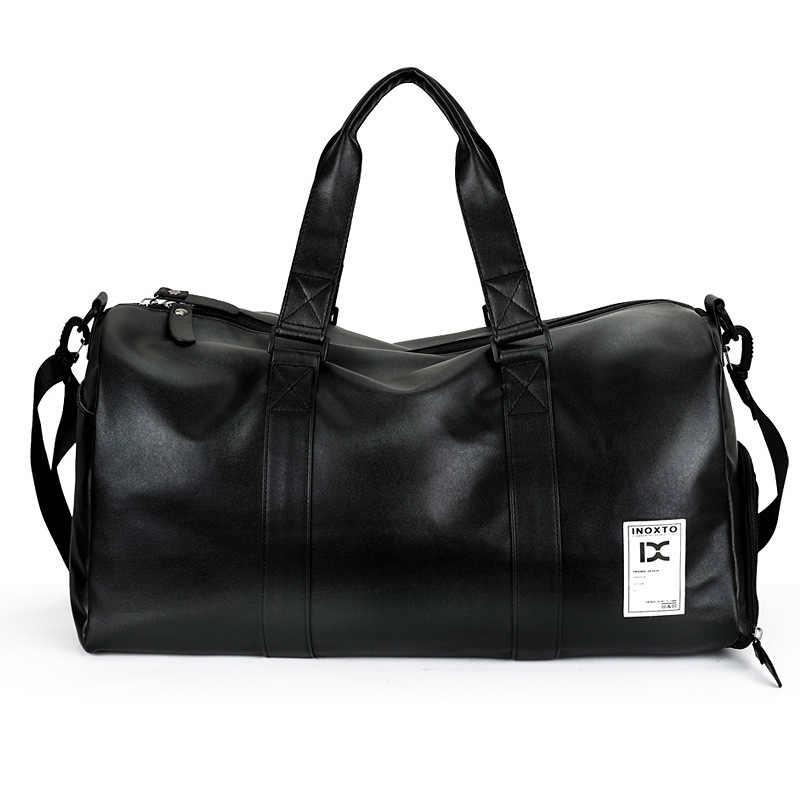 Высококачественная искусственная кожа, дорожная сумка для мужчин/женщин, ручная сумка для багажа, черные спортивные сумки для путешествий, большая емкость, сумка для путешествий