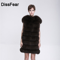 Women's Real Fox Fur Coat Short Sleeve Thick Warm Female Natural Vest Winter Genuine Fur Leather Overcoat Lady O Neck Vest Coat