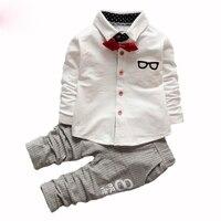 2PCS 0 5T 2016 Spring Autumn Korean Fashion Clothing Set Baby Boy Gentleman Tie Shirt Kids