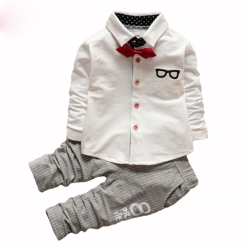 2018 Baby Clothing Sets Kids Clothes Autumn Baby Sets Long Sleeve Sports Suits Bow Tie T-shirts + Pants Boys Clothes New Fashion mother nest 3sets lot wholesale autumn toddle girl long sleeve baby clothing one piece boys baby pajamas infant clothes rompers