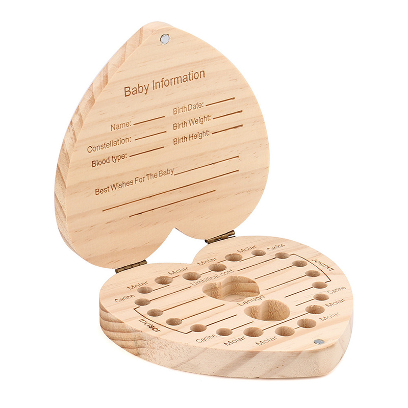 Newborn English Tooth Case Child Souvenirs Cartoon Owl/Elephant Baby Teeth Box Kid Heart Shape Save Milk Teeth Wood Storage Box