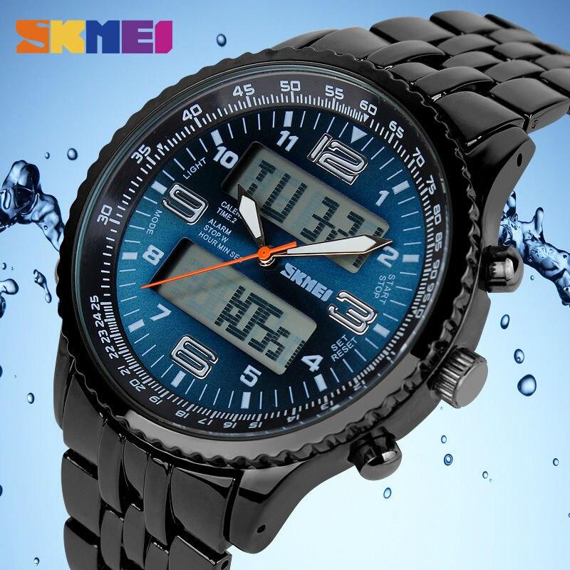 купить SKMEI Outdoor Sport Watch Men Alarm Chrono Calendar Dual Display Wristwatches Waterproof Army Back Light Quartz Watches Mens New по цене 1209.68 рублей