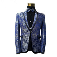 Male Fashion Classic Shawl Blue Floral Pattern Jacquard Blazer Slim Fit Designs Plus Size Singers Costume Jacket With Bow Tie