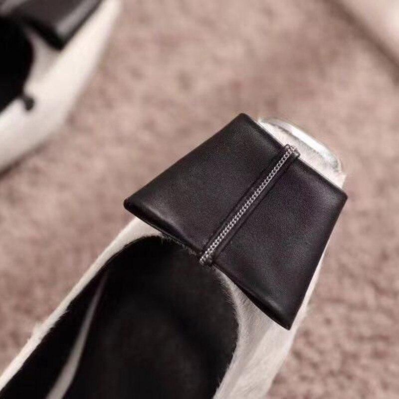 Slip Doux Peu Pic Bowknot Toe Profonde Décontractées Chaussures Pic Sur Polka Mocassins Plats Dot Enceintes De Cheval Carré as Cheveux 19ss Femme Femmes As Awf76Xq