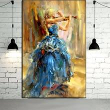 Hochzeit Dekorative Abstrakte Hängen Leinwand Bild Handgemalte Wandkunst Sexy Mädchen in Spielen die Violine Porträt Messer Ölgemälde