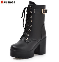 Asumer 2017 Hot Sale New Arrive Women Boots Fashion Lace Up Ladies Boots Simple Comfortable Ankle