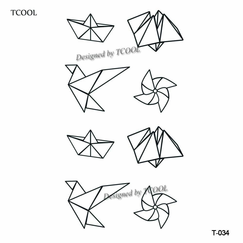 HXMAN Paper Crane Women Temporary Tattoo Sticker Waterproof Fashion Fake Body Art Tattoos 9.8X6cm Kids Hand Tatoo T-034