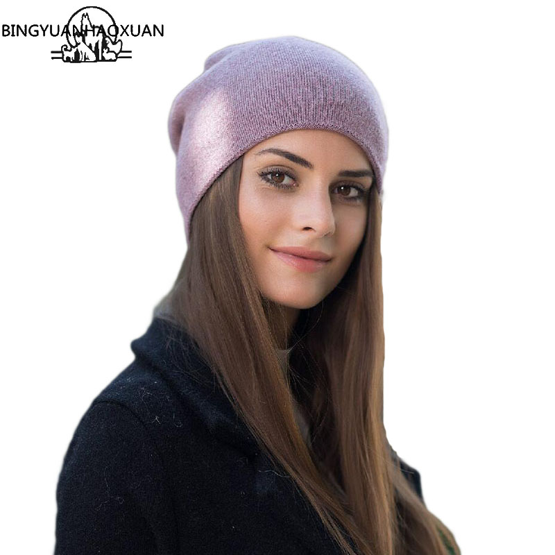 BINGYUANHAOXUAN Thick Warm Women Winter Hat Knitted Wool Hats Women Fashion Skullies Casual Outdoor Ski Caps Warm Hats For Women fibonacci winter hat knitted wool beanies skullies casual outdoor ski caps high quality thick solid warm hats for women