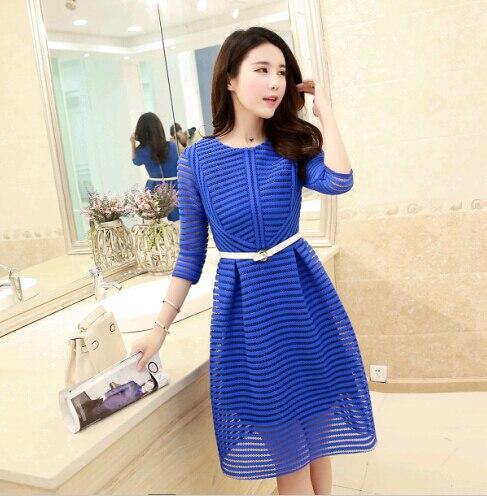 Hot Cute Dresses Women Korean Style Vestidos 2015 White Blue Half Sleeve Hollow Striped Zipper