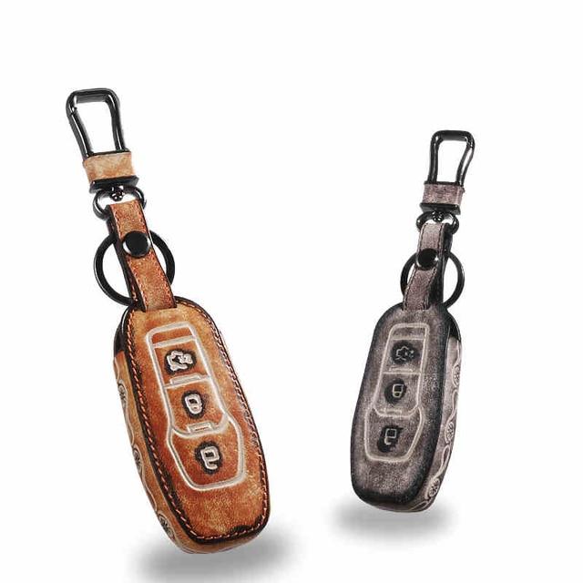 Кожа Автомобилей Брелок Брелок Крышки Случая бумажника для Ford Kuga Фокус Mondeo Fieata Explorer Edge Брелоки Держатель мешка аксессуары