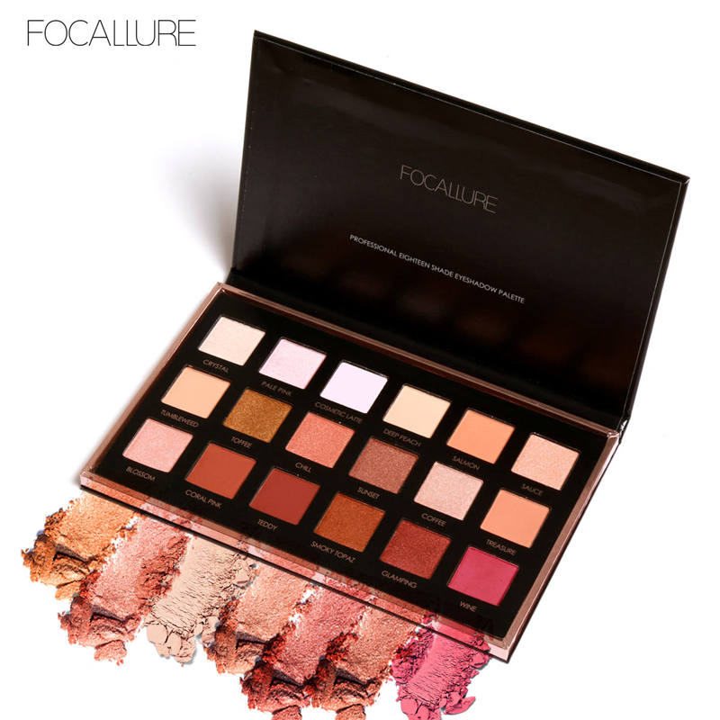 FOCALLURE 18Colors Eyeshadow Makeup Shimmer Matte Pigment Eye Shadow Cosmetics Mineral Nude Glitter Eye Palette of Shades women newthe balm california and colour that 9 colour cosmetics makeup eyeshadow palette paleta de sombra eye shadow