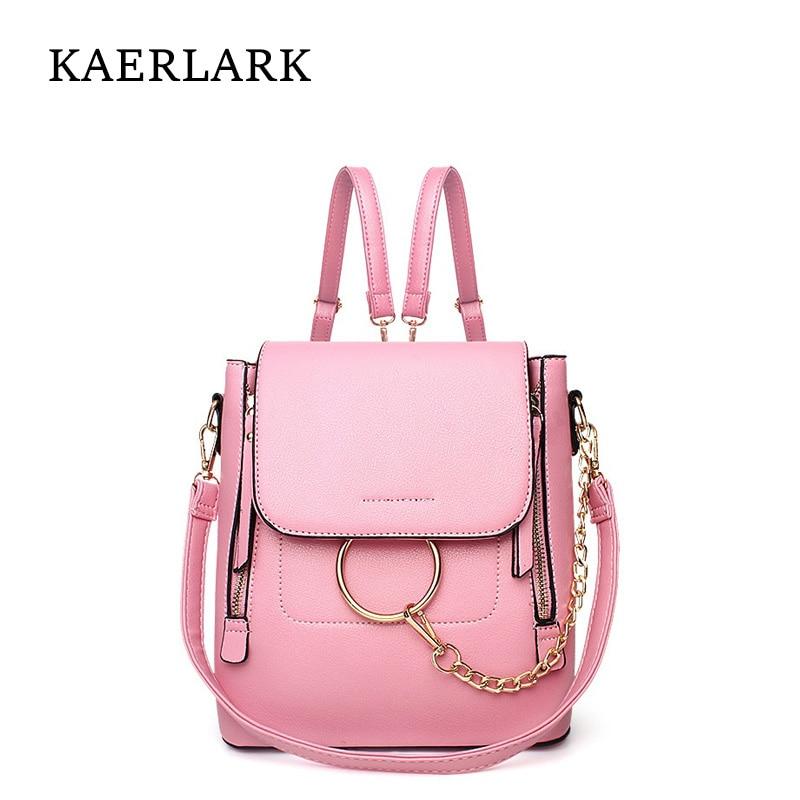 KAERLARK Brand New Fashion Women s Backpacks Female High Quality PU Leather School Backpack For Ladies