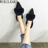 Pointed Toe Ladies Shoes Woman Slip On Loafers Women Flats Luxury Brand Fur Mules Zapatillas Mujer
