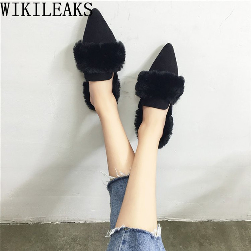 pointed toe ladies shoes woman slip on loafers women flats luxury brand fur mules zapatillas mujer casual slides sapatos mulher yiqitazer 2017 new summer slipony lofer womens shoes flats nice ladies dress pointed toe narrow casual shoes women loafers