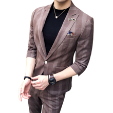 2 Piece Men Suits for Prom Tweed Retro Khaki Plaid Tuxedo Mens Suit With Pants Costume Homme Tunic Suit Dress Spring Summer 2019