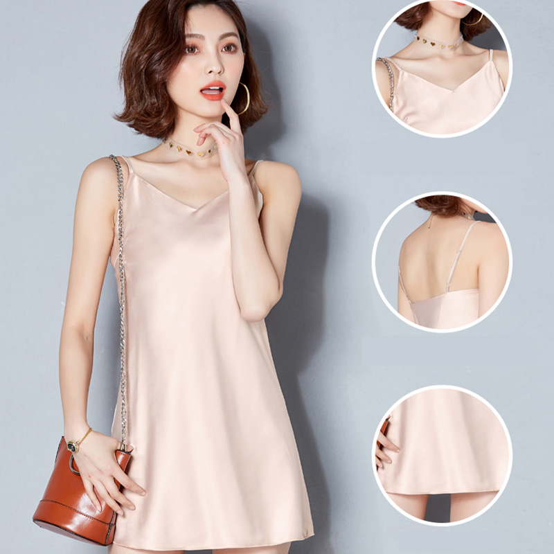 2019 Sexy Camis Female Fashion V neck Solid Modis Long Camisole Women Tops Casual Tank Vest Feminine Sleeveless Dress Summer in Camis from Women 39 s Clothing