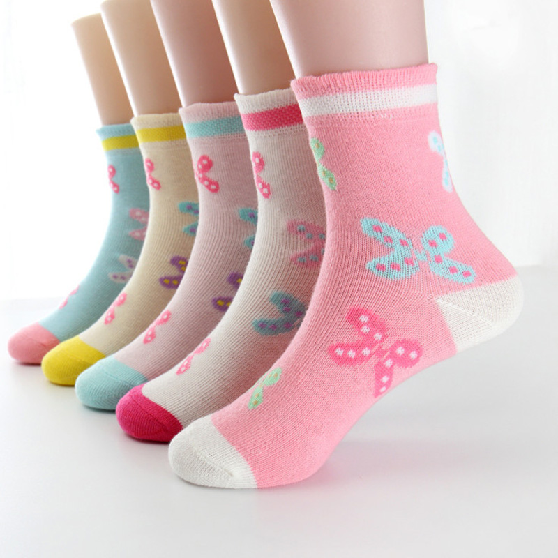 5 pairs/lot Spring Autumn High Quality Girls Socks Cotton Butterfly Candy Color Socks For Girls 3- 12 Year Children Socks5 pairs/lot Spring Autumn High Quality Girls Socks Cotton Butterfly Candy Color Socks For Girls 3- 12 Year Children Socks