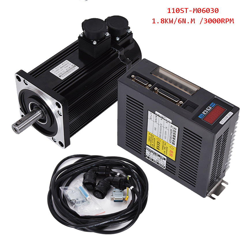 1.8KW AC Servo Motor 6N.M 3000RPM 110ST-M06030 AC Motor+Matched Servo Motor Driver+3M Cable Complete Motor kits High Quality 1 set new servo system kit 6n m 1 8kw 3000rpm 110st ac servo motor 110st m06030 matched servo driver