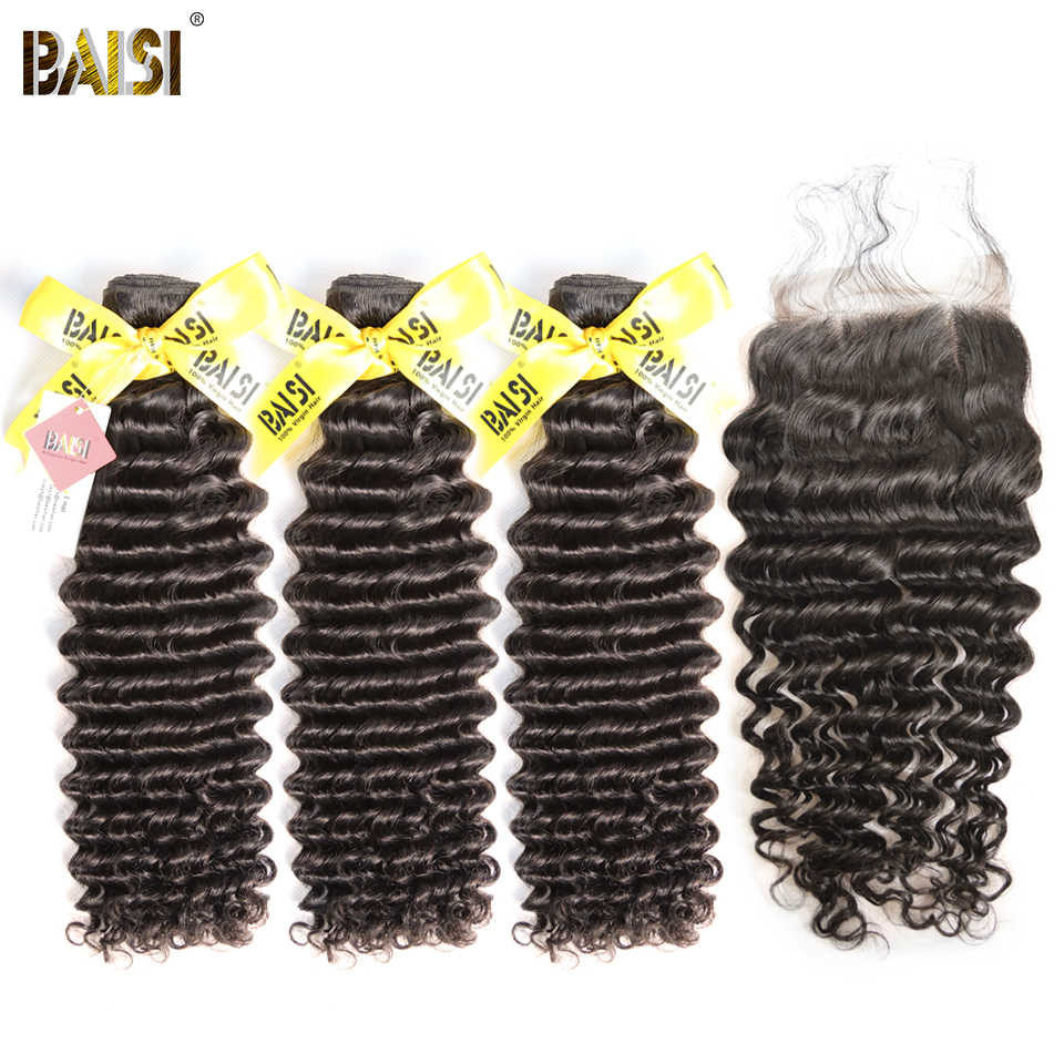 BAISI Hair Indian Virgin Hair Deep Wave 3 Bundles with Closure 100% Unprocessed Human Hair