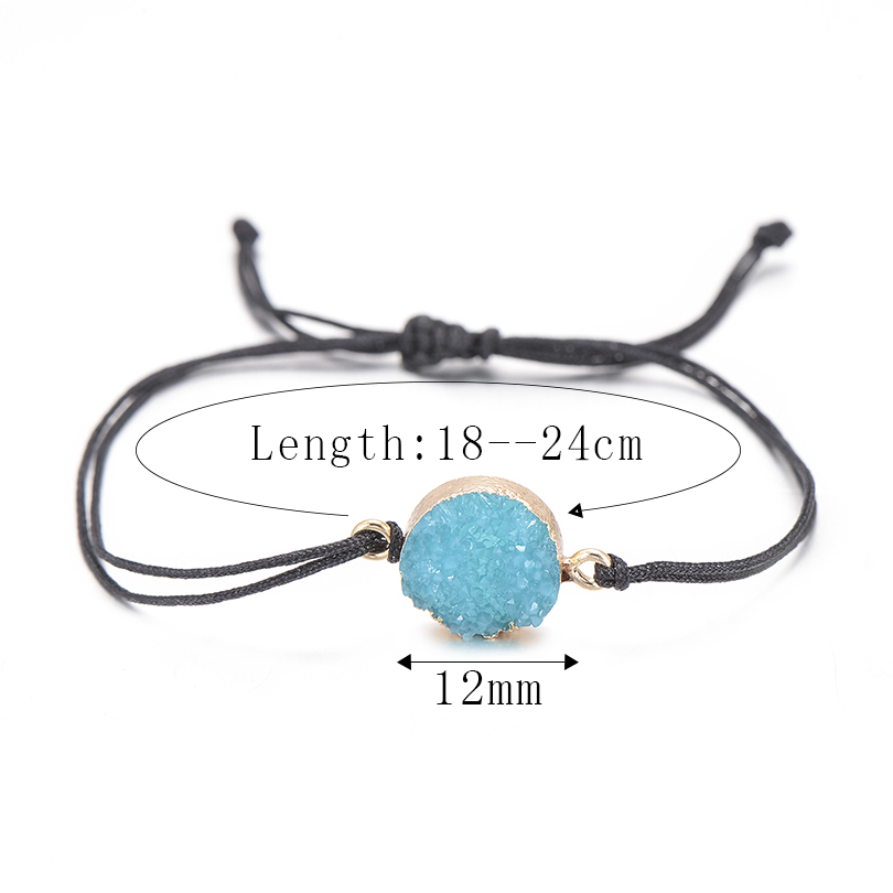 Этнические смолы кристалл каменный шарик браслет для мужчин женщин Мода Черная струна Плетеный Пара Браслеты Шарм ювелирные изделия