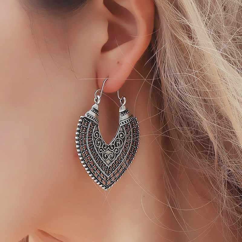 Bohemian Vintage Tribal Swirl Spiral Hoop ต่างหูสำหรับผู้หญิง 2019 แฟชั่นคำอธิบายต่างหูรูปทรงเรขาคณิตสีทองโบราณเงิน