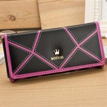 2016 Fashion New Designed Women Long Crown Leather Clutch Purse Handbag Wallet Coin Purse Hot Sale Waist Pack