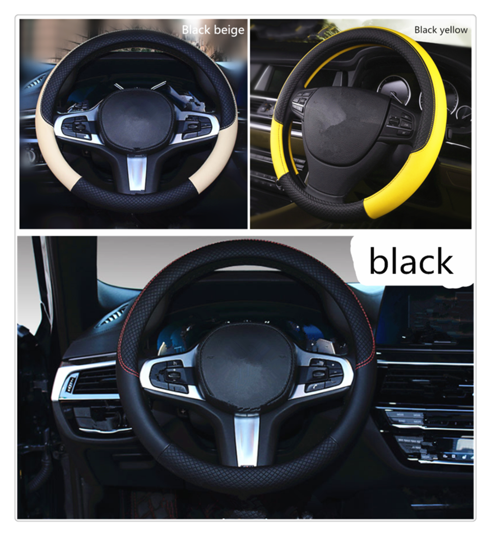 Car steering wheel cover PU leather 38CM anti-skid auto parts for Ford  Taurus Mondeo Galaxy Falcon Everest S-MAX