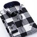 Плюс Размер Одежды Хлопок Горячие Продажа Весна Осень Рубашки с длинным Рукавом Плед Фланель Мужчины Повседневный Slim Fit сорочки homme