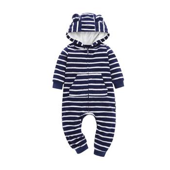 ac97760ee Autumn & Winter Newborn Infant Baby Clothes Fleece Jumpsuit Boys Romper  Hooded stripe Bear Onesie Baby Bebe Menino Macacao