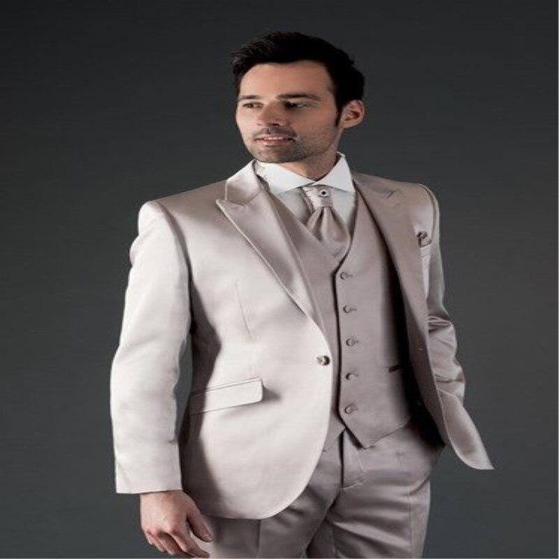 Latest Coat Pant Designs Silver Grey Satin Formal Men Suit Slim Fit Prom Tuxedo Simple Custom Modern Blazer 3 Piece Homme