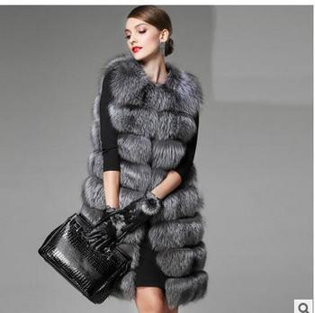 2019S/6Xl Womens Long Section Faux Fur Vest Coats Large Size Fashion Warm Fake Fur Waistcoats Vests Chalecos Para Mujer J1648-14