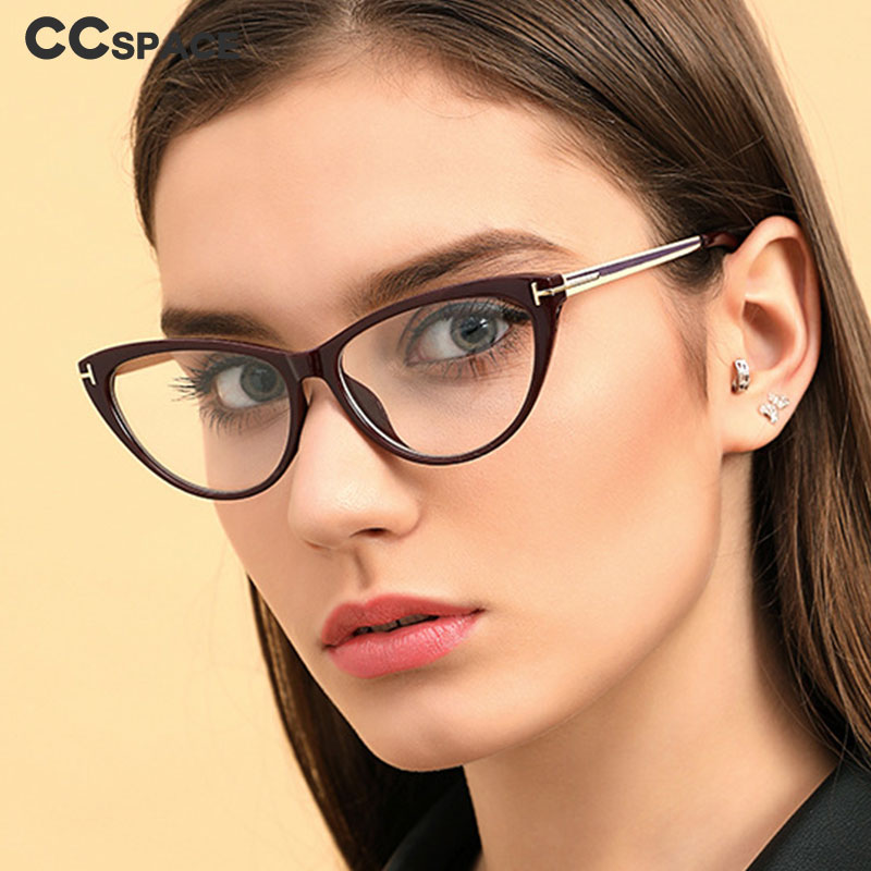 45619 Cat Eye Glasses Frames Women Retro Metal Legs Brand Designer Eyeglasses Optical Fashion Computer Glasses