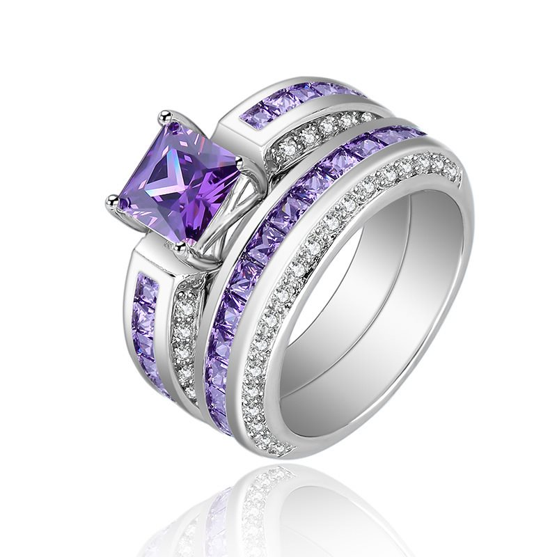 Hot Sale 2 Pieces/Set Natural Purple Rhinestone Ring Fine Jewelry For Women Rhinestone Color Zircon Ladies Ring Silver 925 Jade