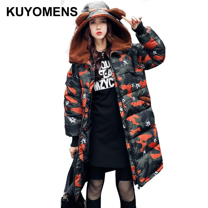 KUYOMENS Winter Jacket Women 2017 New Europe Style Fashion Loose Medium Long Autumn Winter Plus Size Down Parkas Lady Coat стоимость
