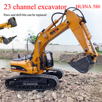 HuiNa 580 RC remote control car simulation twenty three channel 3 in 1 full metal excavator boy DIY toy