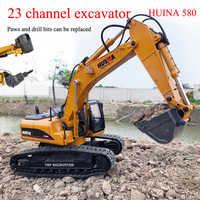 RBR/C HuiNa 580 RC remote control car simulation twenty three channel 3 in 1 full metal excavator boy DIY toy