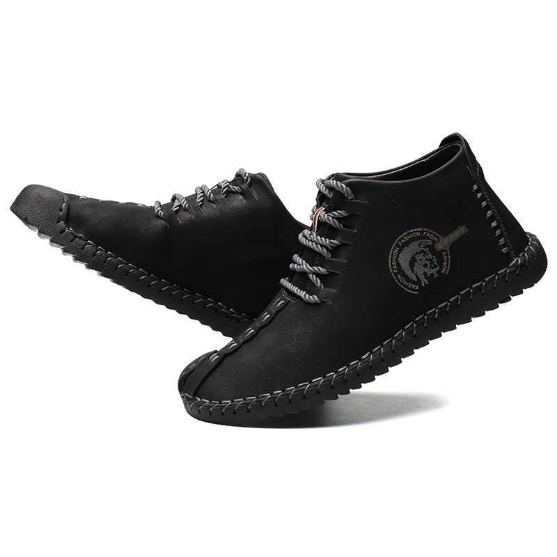 Erkekler rahat ayakkabılar 2019 Yeni Moda Rahat Düz Erkekler Oxford Ayakkabı dantel-up Katı Kış Erkek günlük ayakkabılar Ayakkabı Sıcak