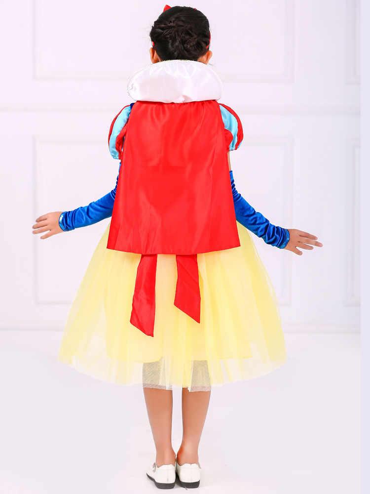 3adc4da63 El Día de los niños mostrar capa de vestido de fiesta de niños Encantadores  Niños Cosplay ropa Cosplay princesa blanco de nieve traje para niños ...