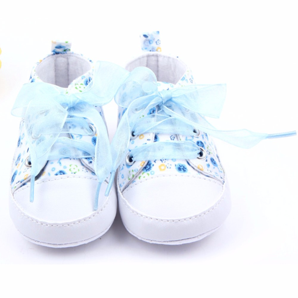 HOT Baby Shoes Flower Ribbon Baby Girl Sneaker Lace Up Soft Sole Prewalkers 4