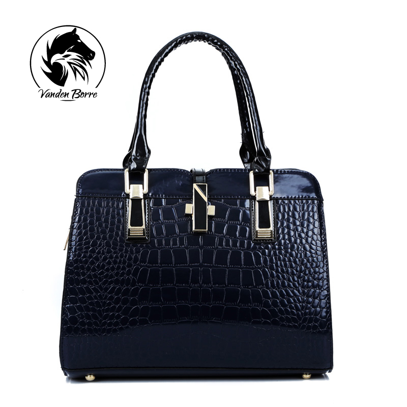 ФОТО Charm in hands Elegant Alligator Patent Leather Women Handbag Big Women's Shoulder Bags Cross Lock Design Lady Tote Handbag