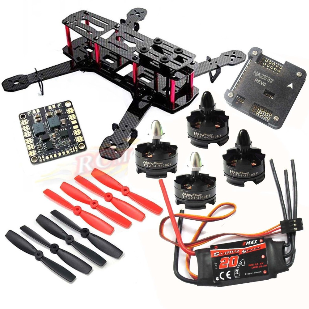 DIY QAV250 ZMR250 Quadcopter HP T2204 2300KV Motor Simonk 20A ESC NAZE32 6DOF FC wdiy motor2204 2300kv qav x qav210  4s